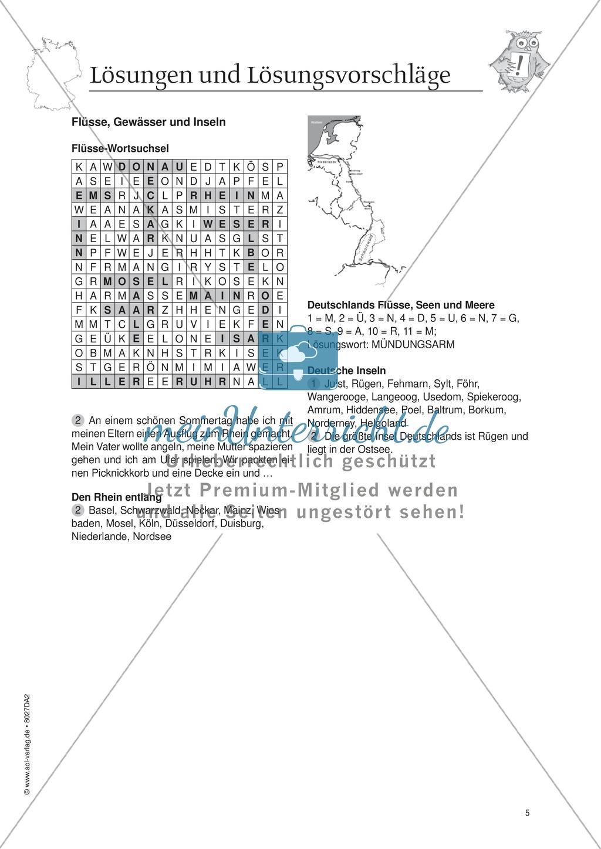 Arbeitsblätter zum Thema Flüsse und Gewässer in Deutschland ...