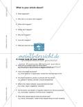 Unterrichtseinheit zur Arbeit mit Zeitungsartikeln: Inhaltliche und strukturelle Erfassung von Artikeln, eigene Artikel schreiben. Mit hilfreichen Links, Arbeitsblättern und didaktischen Erläuterungen. Preview 3