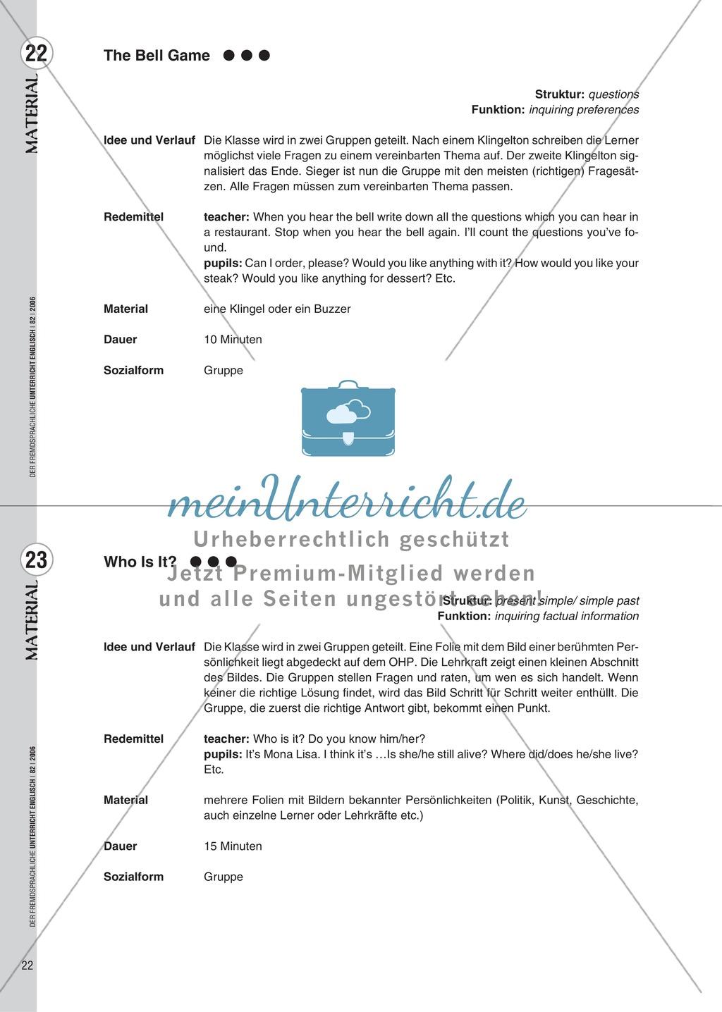 Spielekartei. 25 kommunikative Grammatikübungen: Praxisartikel Preview 13