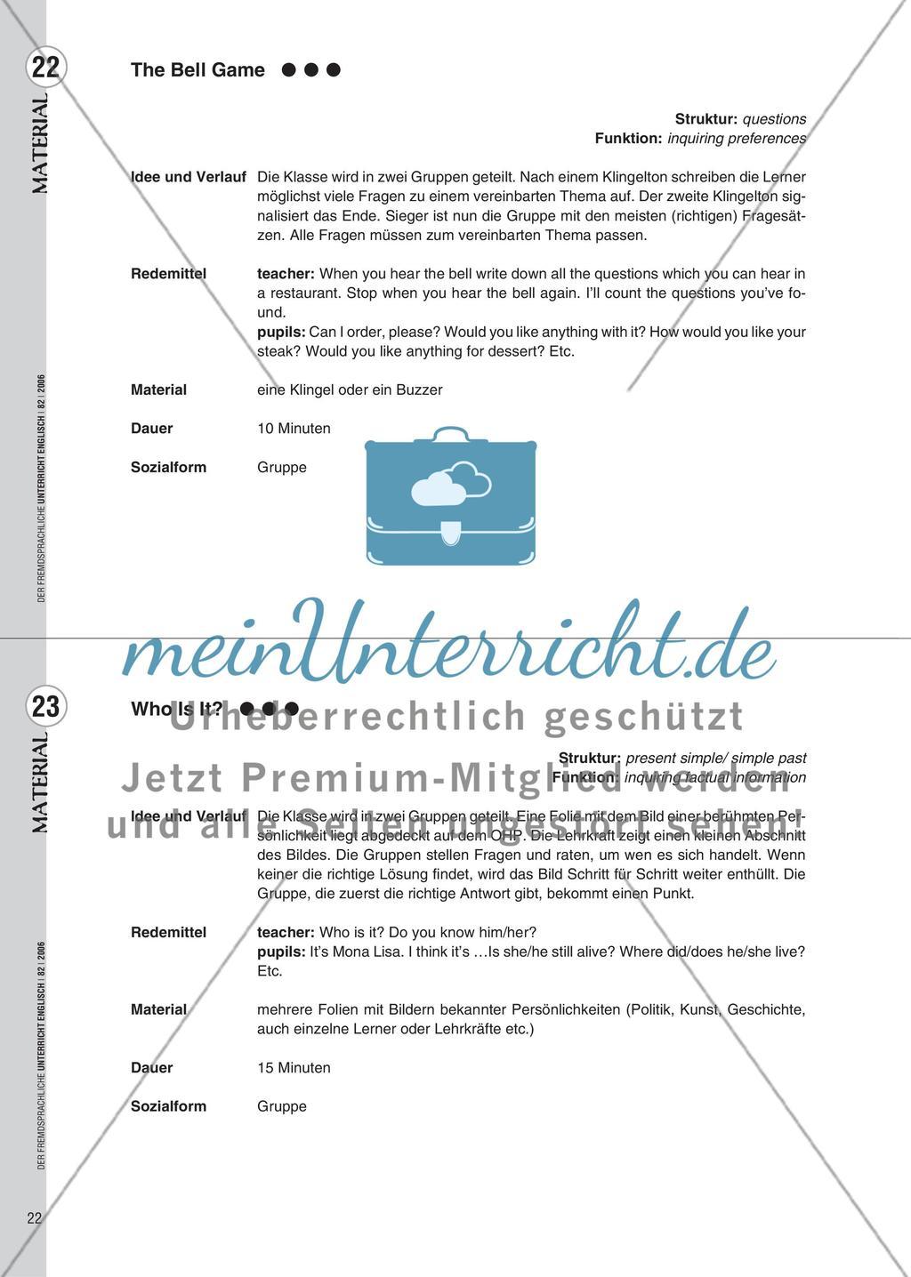 Spielekartei - 25 kommunikative Grammatikübungen Preview 14