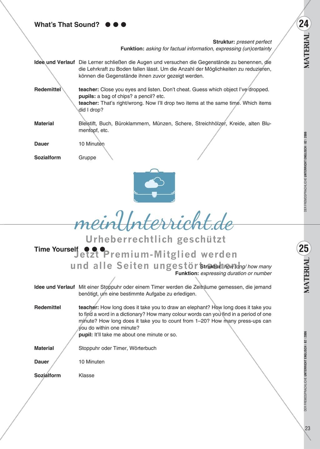 Spielekartei. 25 kommunikative Grammatikübungen: Praxisartikel Preview 14
