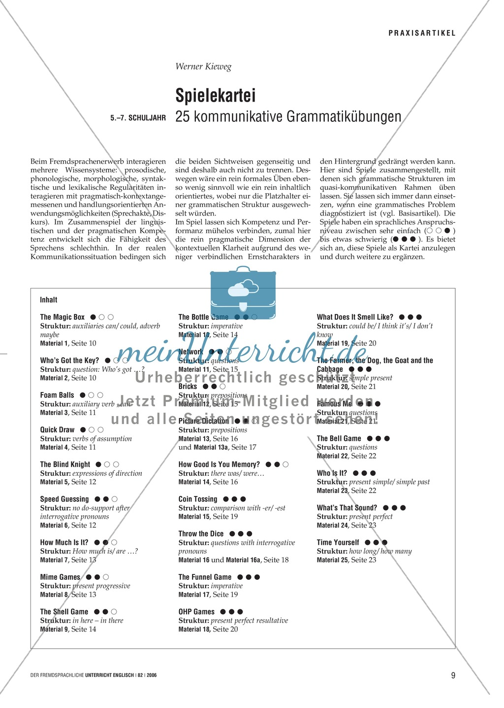 Spielekartei. 25 kommunikative Grammatikübungen: Praxisartikel Preview 0