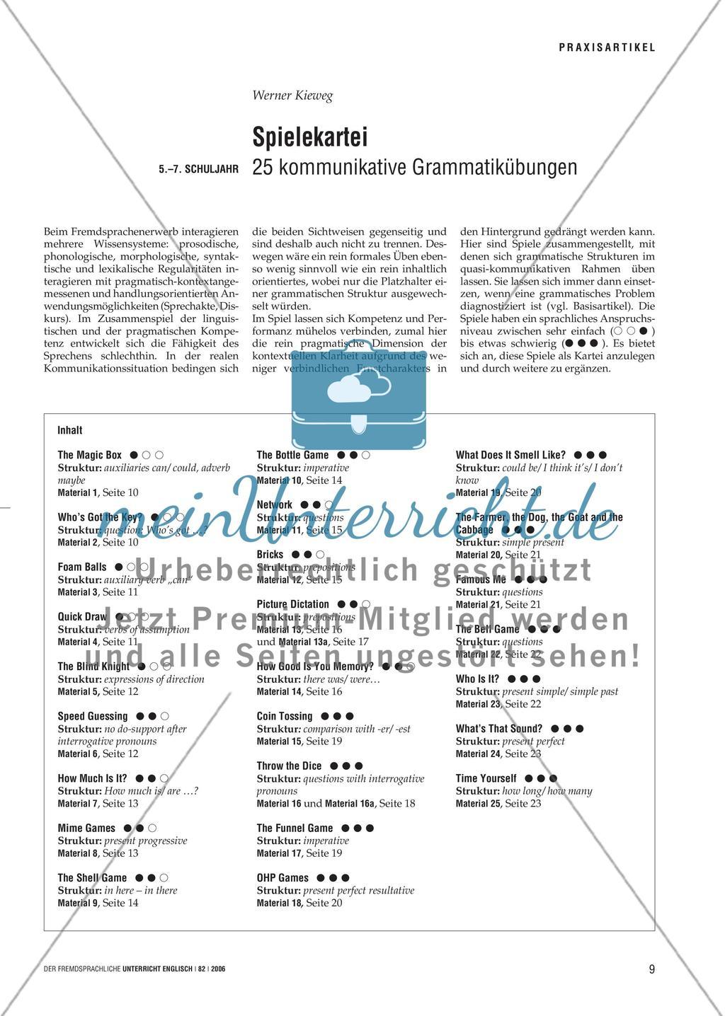 Spielekartei - 25 kommunikative Grammatikübungen Preview 1