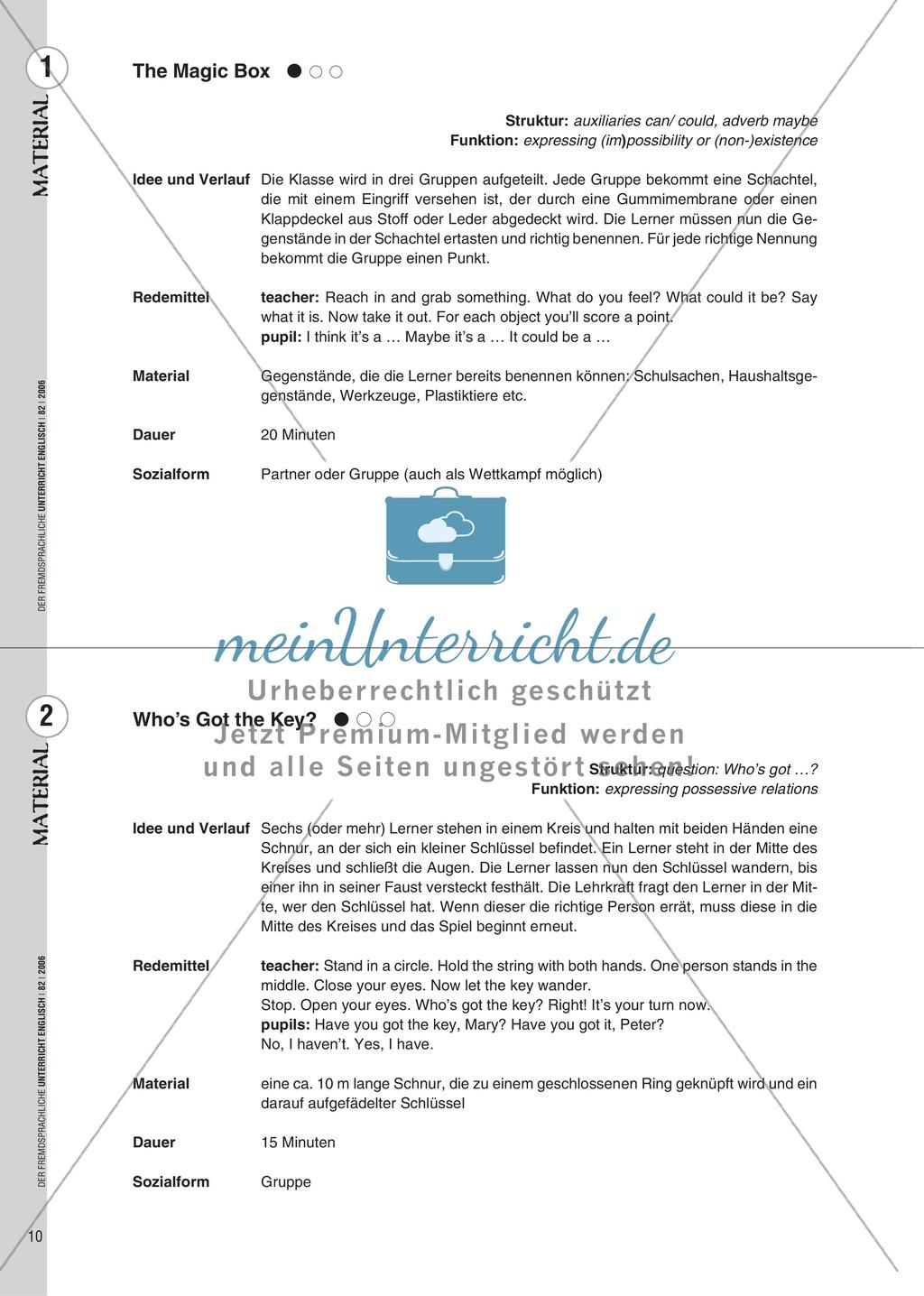 Spielekartei. 25 kommunikative Grammatikübungen: Praxisartikel Preview 1