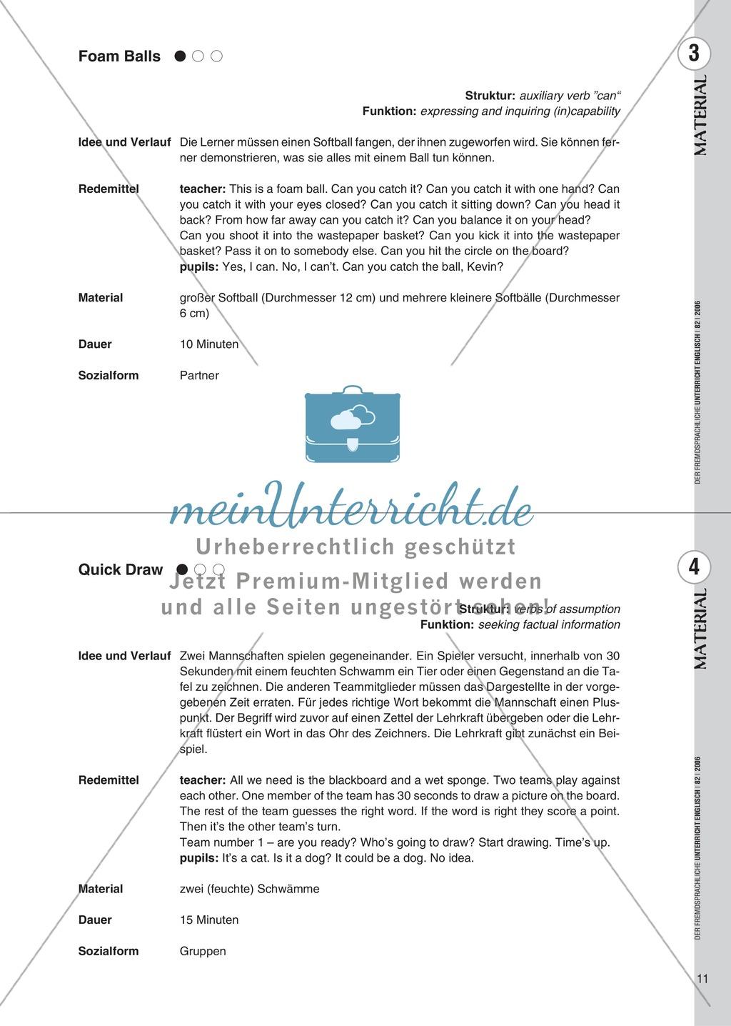 Spielekartei. 25 kommunikative Grammatikübungen: Praxisartikel Preview 2