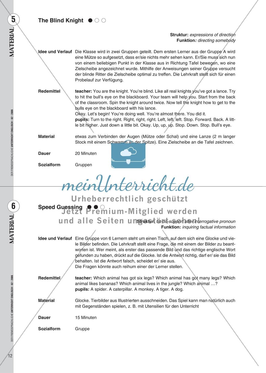 Spielekartei. 25 kommunikative Grammatikübungen: Praxisartikel Preview 3