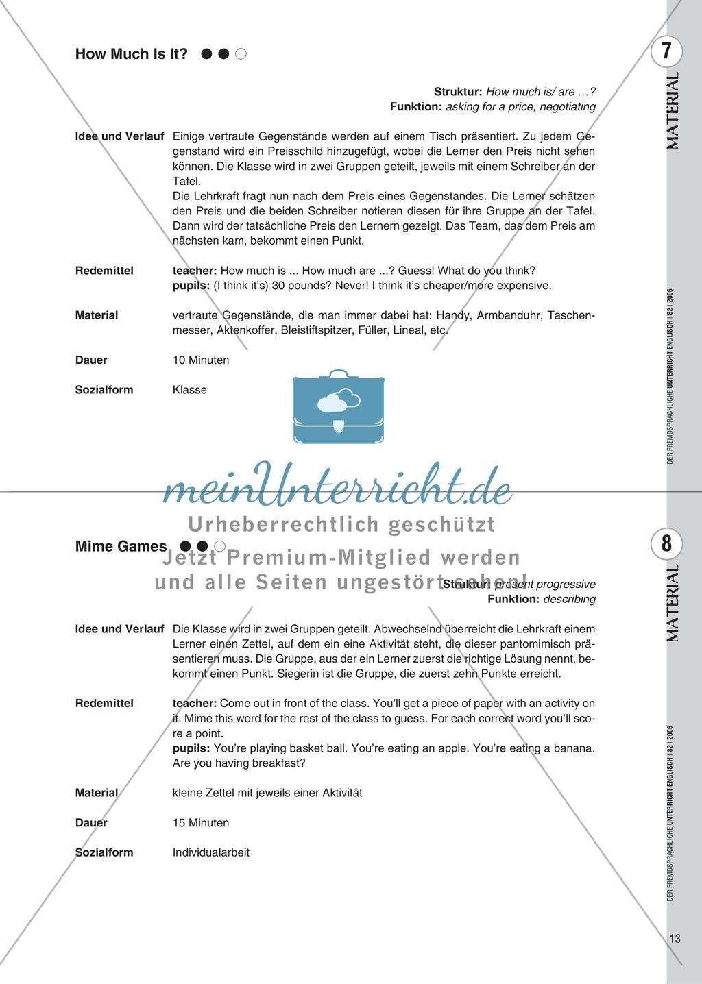 Spielekartei. 25 kommunikative Grammatikübungen: Praxisartikel Preview 4