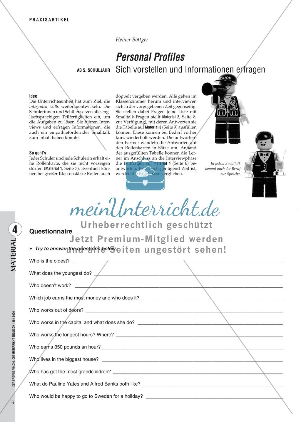 Personal Profiles. Sich vorstellen und Informationen erfragen ...