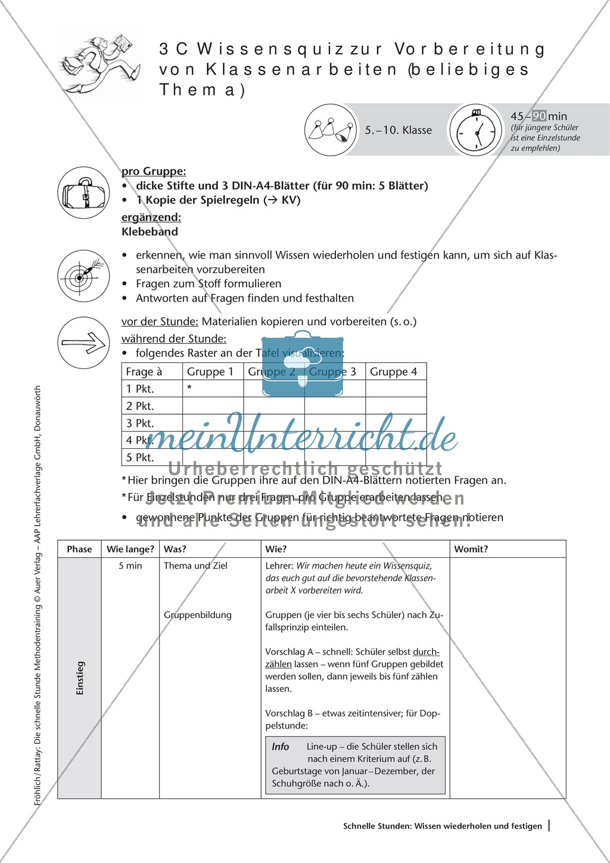 Methodenkompetenz: Wissensquiz zur Vorbereitung einer Klassenarbeit Preview 2