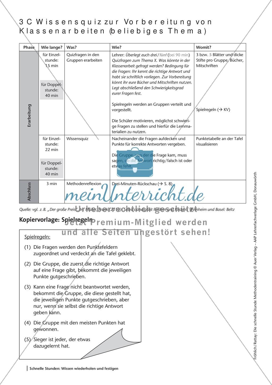 Methodenkompetenz: Wissensquiz zur Vorbereitung einer Klassenarbeit Preview 3