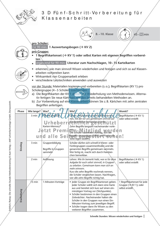Methodenkompetenz: 5-Schritt-Methode zur Vorbereitung einer Klassenarbeit Preview 1