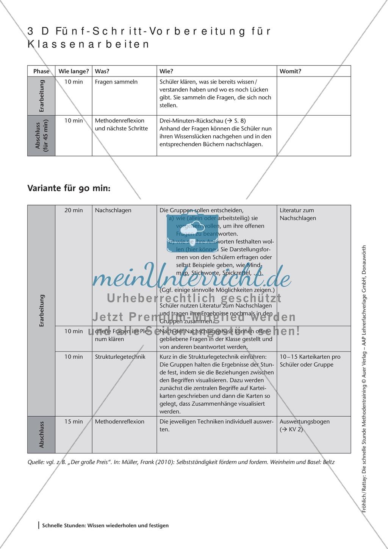 Methodenkompetenz: 5-Schritt-Methode zur Vorbereitung einer Klassenarbeit Preview 2