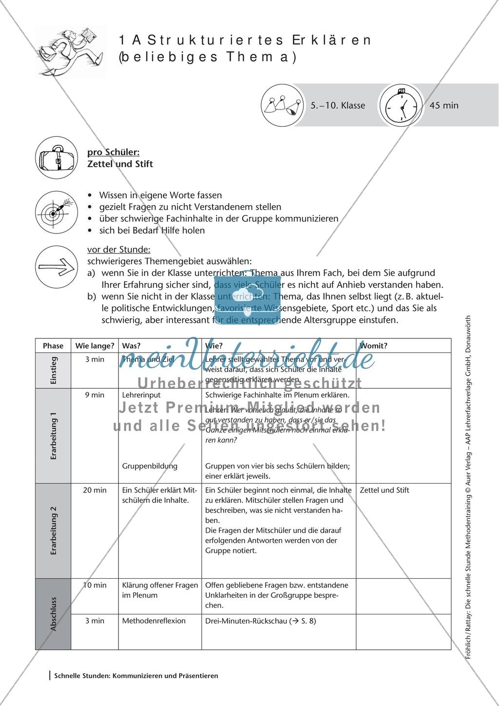 Methodenkompetenz: Strukturiertes Erklären Preview 1
