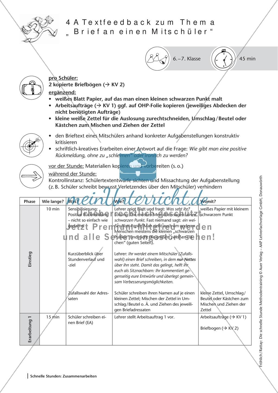 Methodenkompetenz: Feedback zu einem geschriebenen Text Preview 1