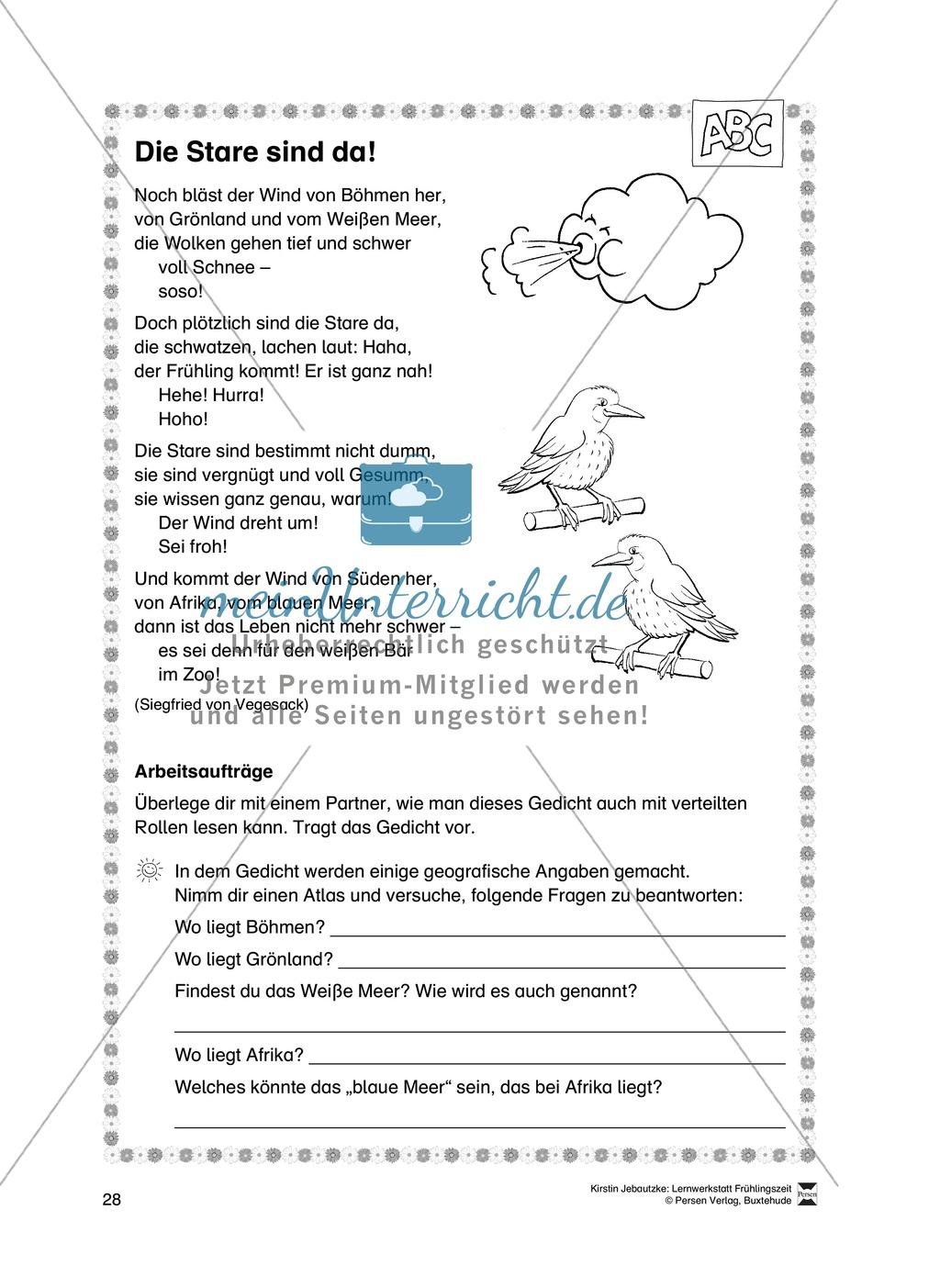 Übungsaufgaben für das Fach Deutsch zum Thema Frühling Preview 9