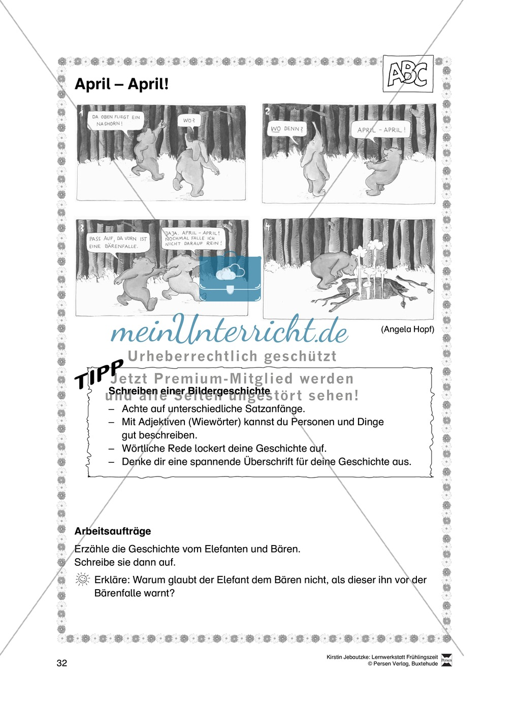 Übungsaufgaben für das Fach Deutsch zum Thema Frühling Preview 13