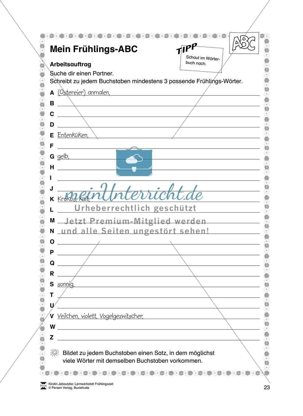 Übungsaufgaben für das Fach Deutsch zum Thema Frühling Preview 4
