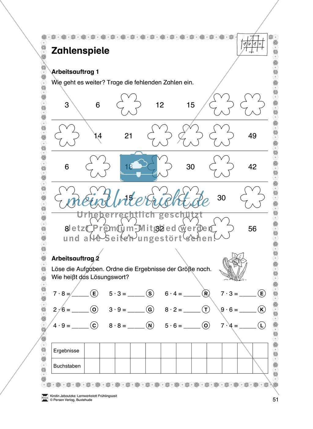 Kleine Aufgaben für das Fach Mathematik zum Thema Frühling Preview 10