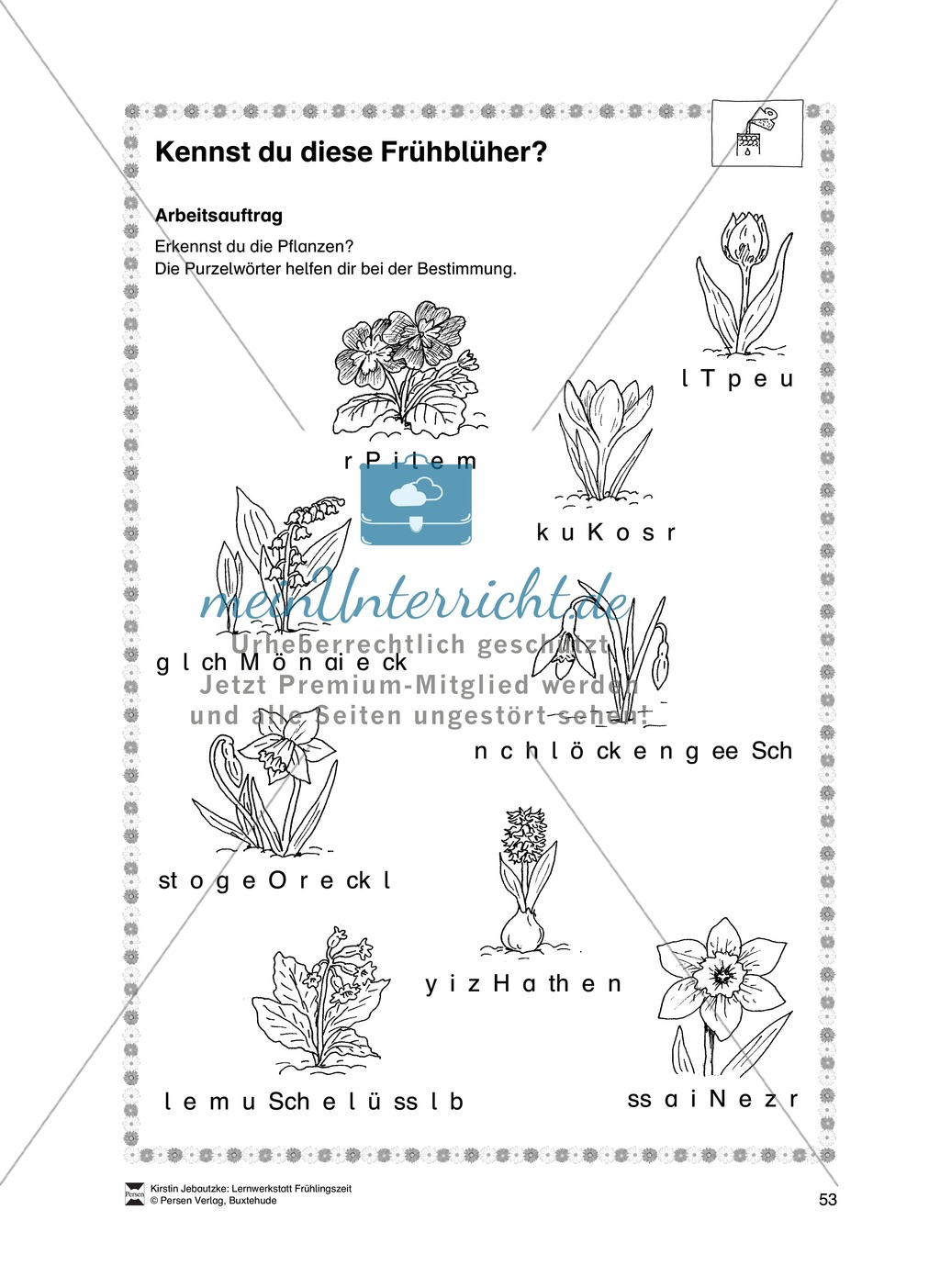 Aufgaben für das Fach Sachkunde zum Thema Frühling Preview 2