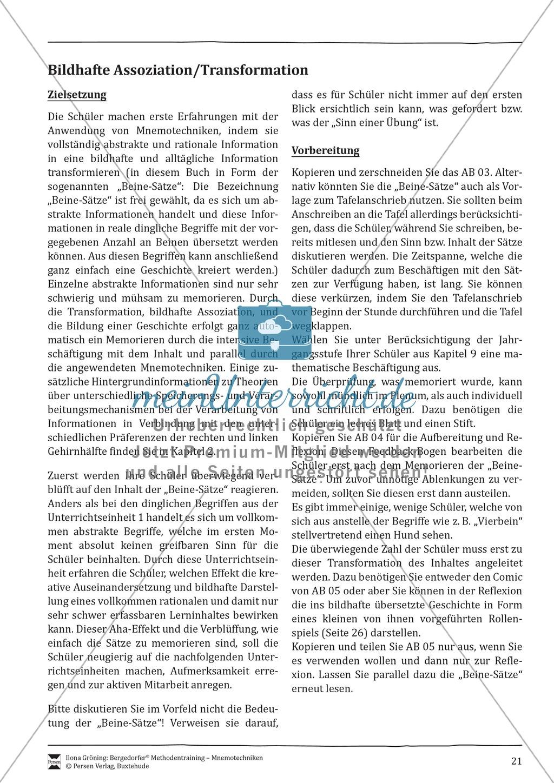 """Mnemotechniken: Unterrichtsstunde zum Thema """"Bildhafte Assoziation"""" + Zielsetzung und didaktische Hinweise Preview 1"""