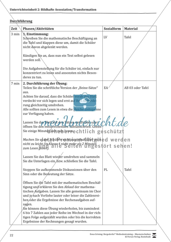 """Mnemotechniken: Unterrichtsstunde zum Thema """"Bildhafte Assoziation"""" + Zielsetzung und didaktische Hinweise Preview 2"""