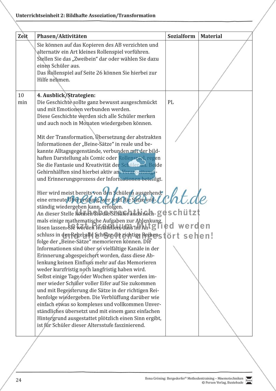 """Mnemotechniken: Unterrichtsstunde zum Thema """"Bildhafte Assoziation"""" + Zielsetzung und didaktische Hinweise Preview 4"""