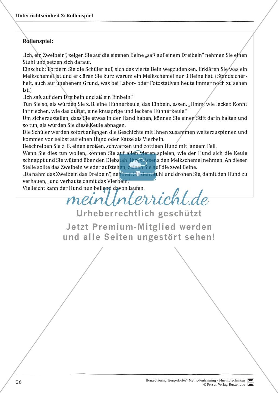 """Mnemotechniken: Unterrichtsstunde zum Thema """"Bildhafte Assoziation"""" + Zielsetzung und didaktische Hinweise Preview 6"""