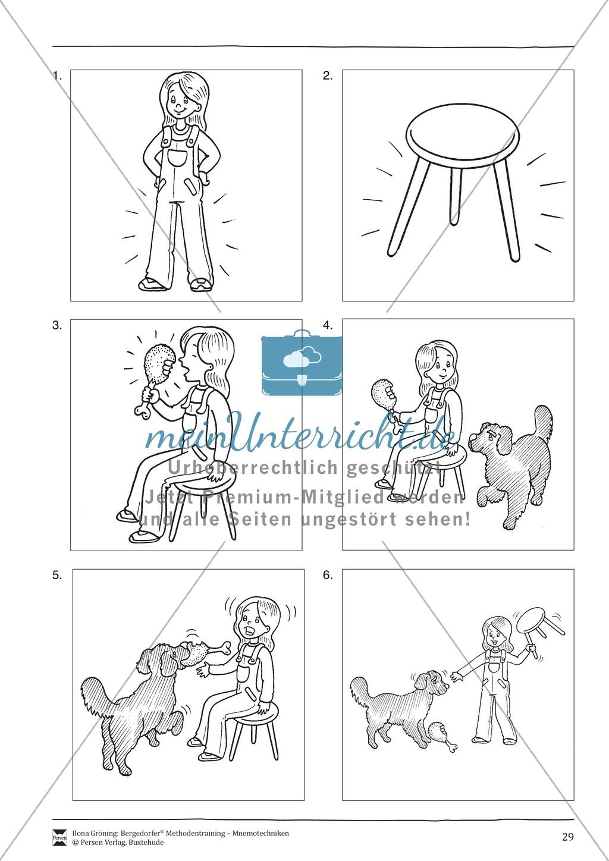 """Mnemotechniken: Unterrichtsstunde zum Thema """"Bildhafte Assoziation"""" + Zielsetzung und didaktische Hinweise Preview 9"""