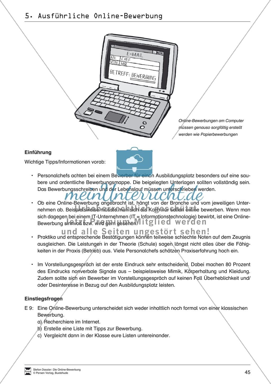 Eine ausführliche Onlinebewerbung schreiben + Lehrerhinweise Preview 2