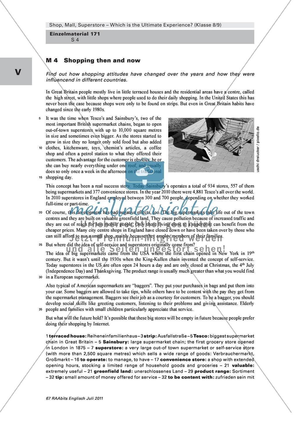 Shopping then and now: Der Vergleich zwischen den 80ern und heute. Mit Text und Aufgaben zur Aufarbeitung des Textes. Preview 0