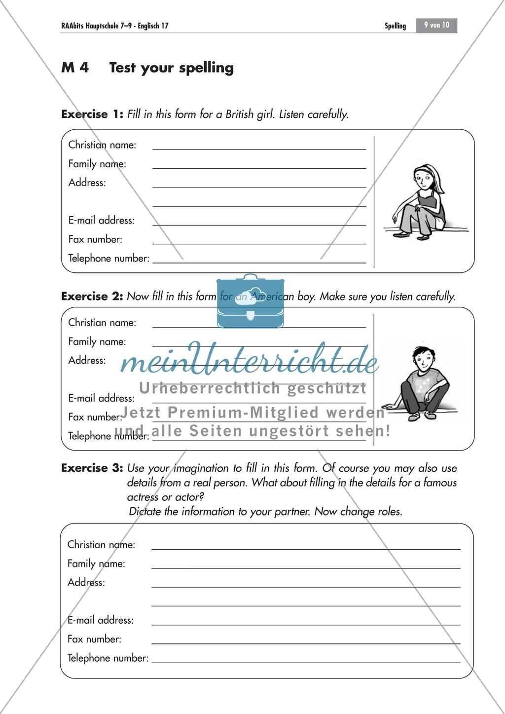 Listening comprehension of spelling: Zwei Steckbriefe zum Ausfüllen. Mit Lösungen und didaktischen Anmerkungen Preview 0