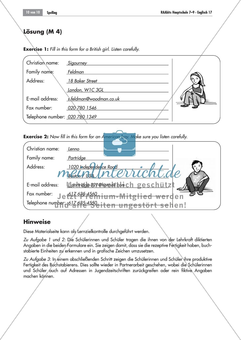 Listening comprehension of spelling: Zwei Steckbriefe zum Ausfüllen. Mit Lösungen und didaktischen Anmerkungen Preview 1