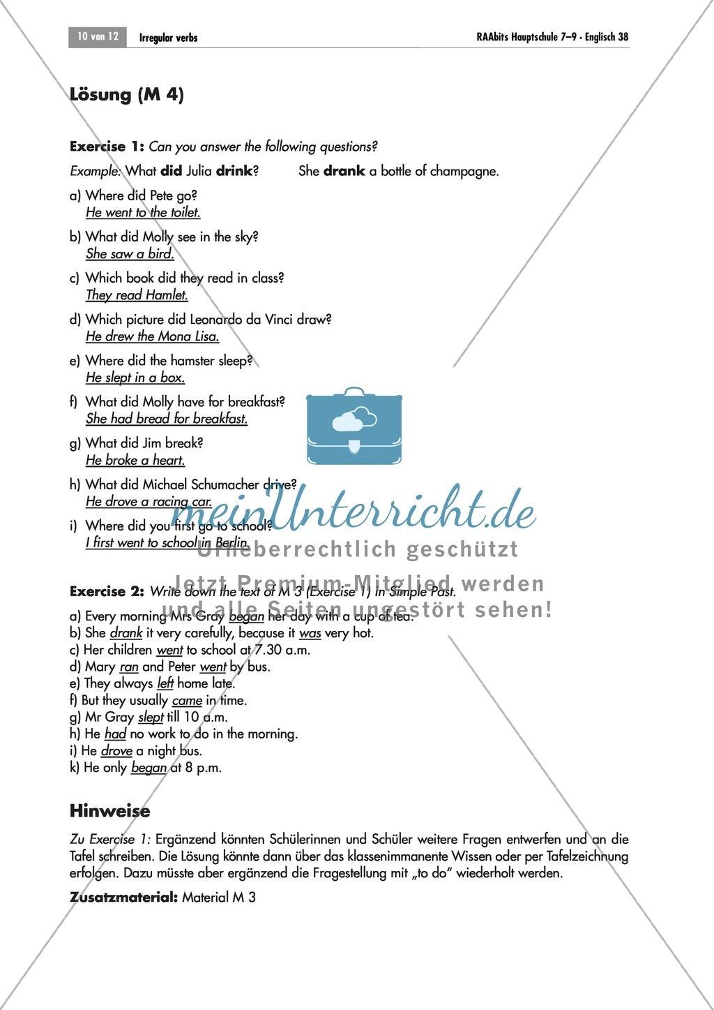 Übungen zu unregelmäßigen Verben: Arbeitsblätter + Lösungen ...