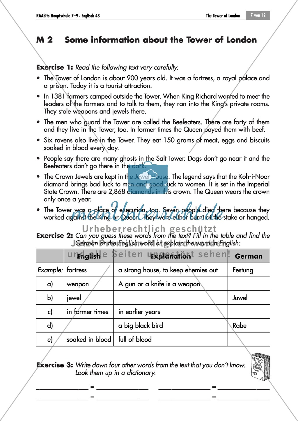The Tower of London: Finding one's way on the site and background information with vocabulary work Preview 3