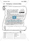 Englisch, Themen, Gesellschaft, Sitten und Traditionen, Thanksgiving, reading comprehension, vocabulary