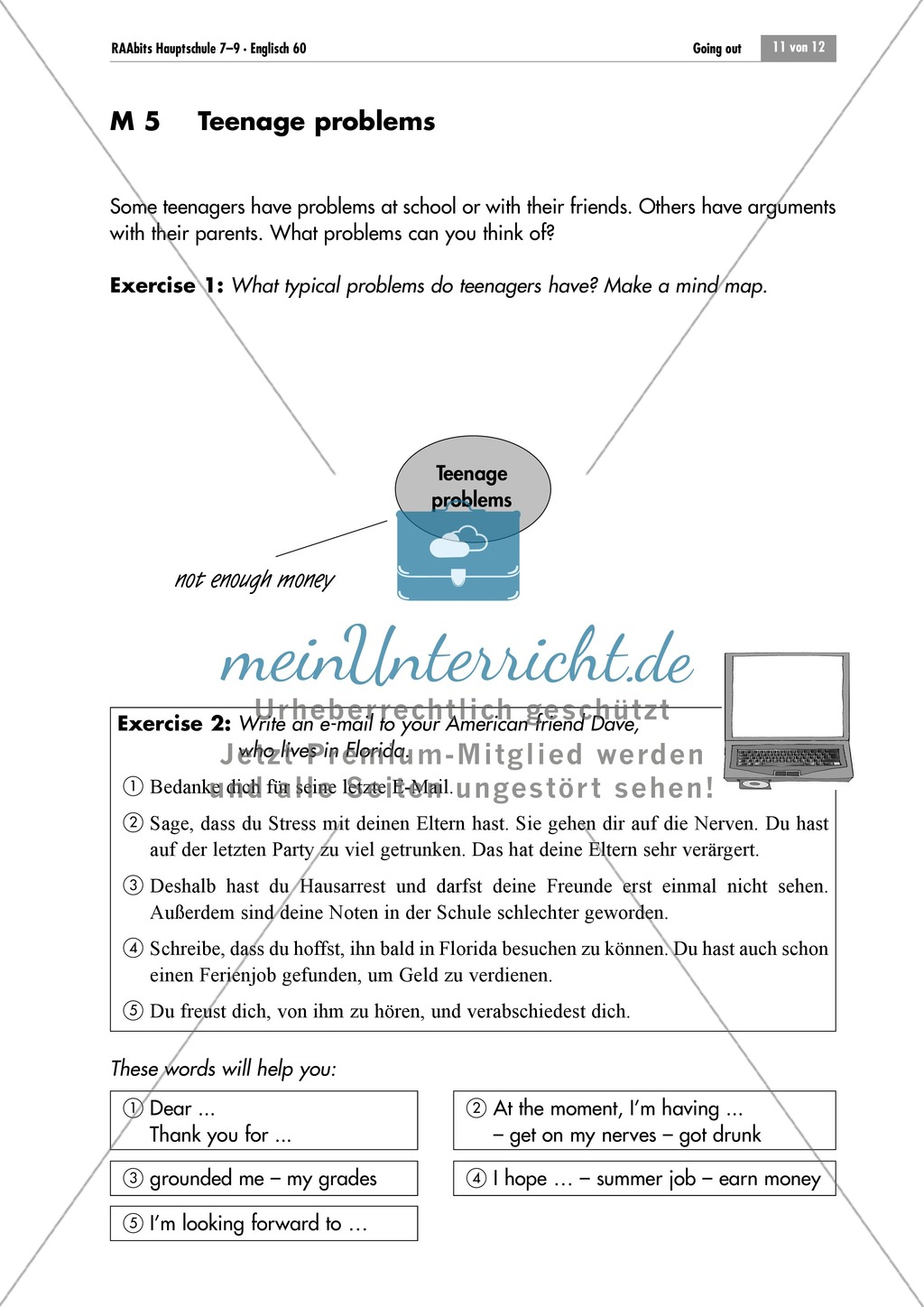 Teenage problems: Mind map and mediating task Preview 0