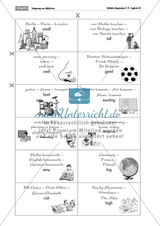 Arbeitsblätter Adjektive Steigern : Steigerung von adjektiven spiel zur Übung für gruppen