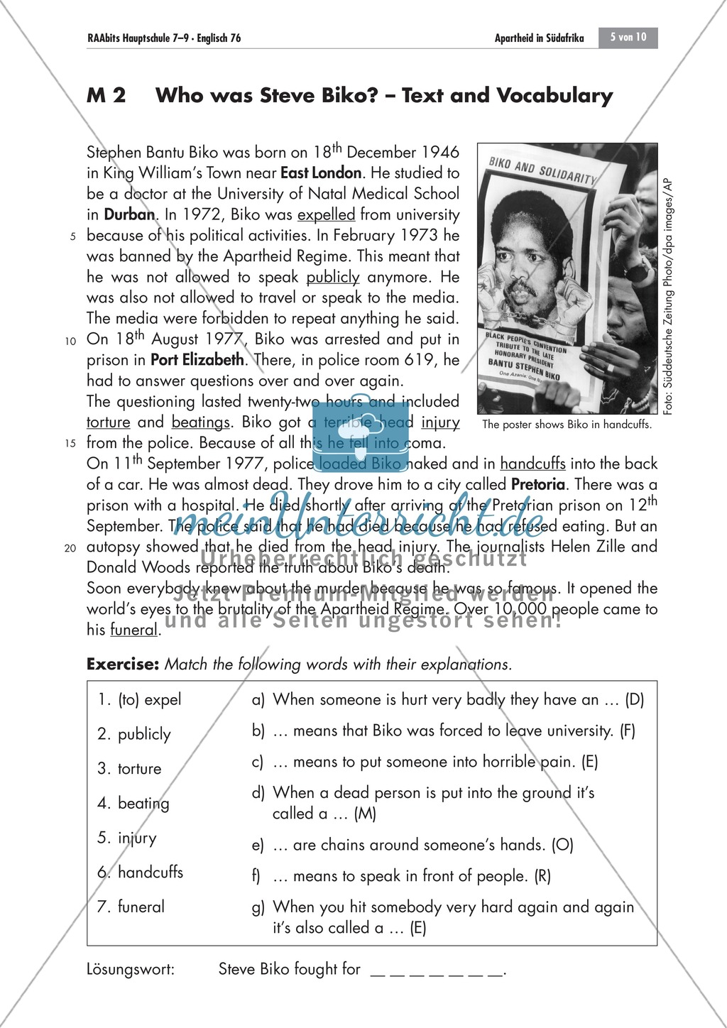 Apartheid South Africa: Steve Biko's story; worksheets and explanations Preview 0