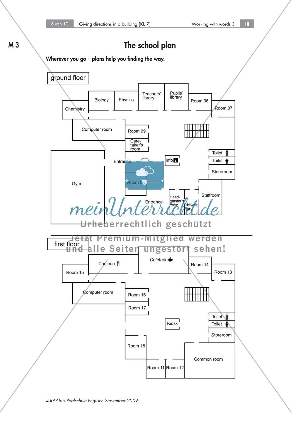 Giving directions in a building - Beschreiben des Weges zwischen zwei Räumen + Arbeitsblätter + Tipps Preview 0