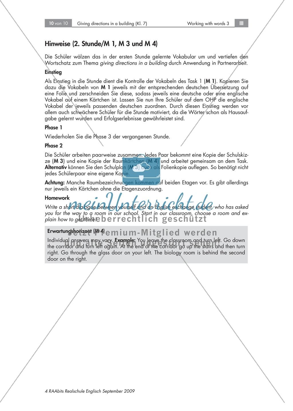 Giving directions in a building - Beschreiben des Weges zwischen zwei Räumen + Arbeitsblätter + Tipps Preview 2