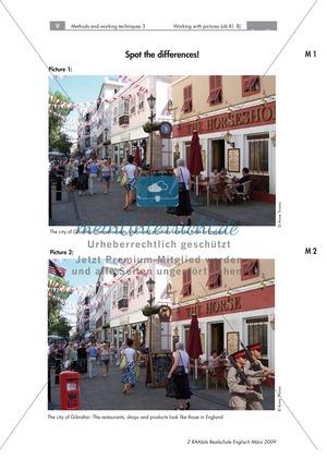 How to work with pictures: The most important vocabulary. Bilderrätsel zum Beschreiben eines Fotos und systematischer Ablauf einer Bildbeschreibung mit Redemitteln. Mit didaktischen Anmerkungen und Erwartungshorizont.