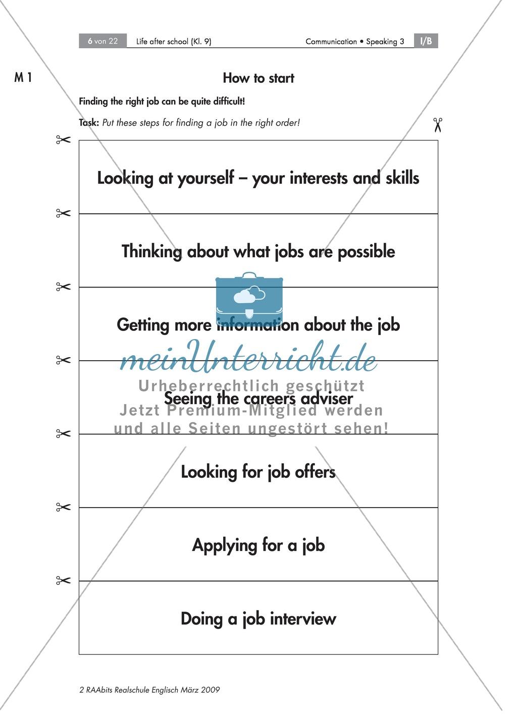 Strategien zur Berufswahl - Reflektieren von Interessen und Fähigkeiten und daraus resultierenden Berufswahlmöglichkeitenvon, Selbst- und Fremdwahrnehmung, mit Questionnaire und Partnerinterview Preview 0