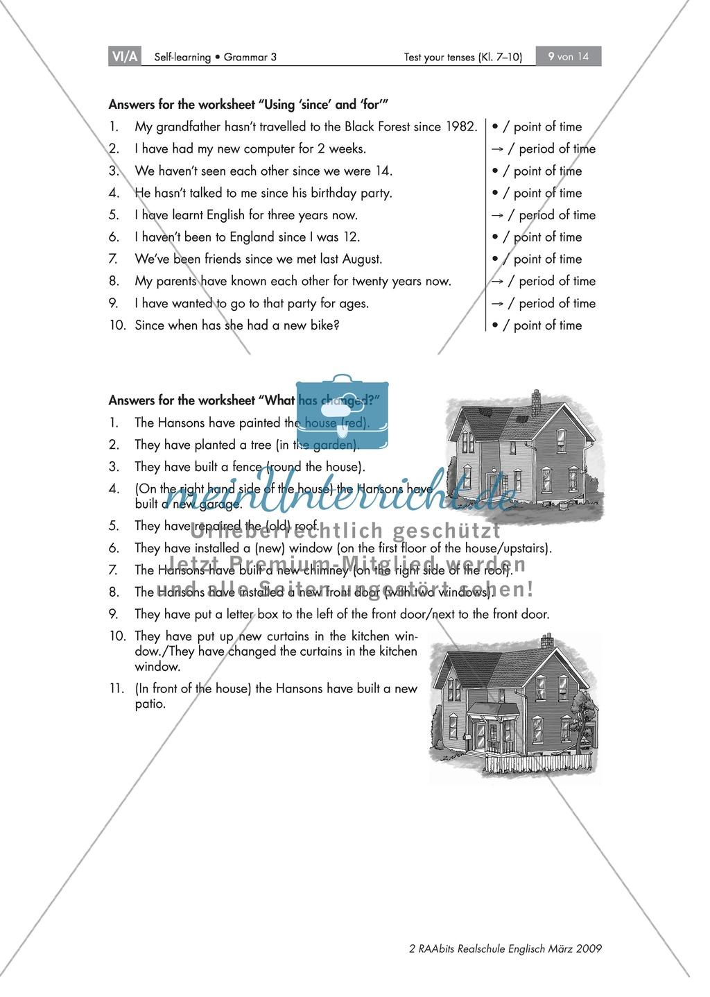 Übung zum Present Perfect: What has changed? Die Abbildung eines Hauses beschreiben + Lösung Preview 1