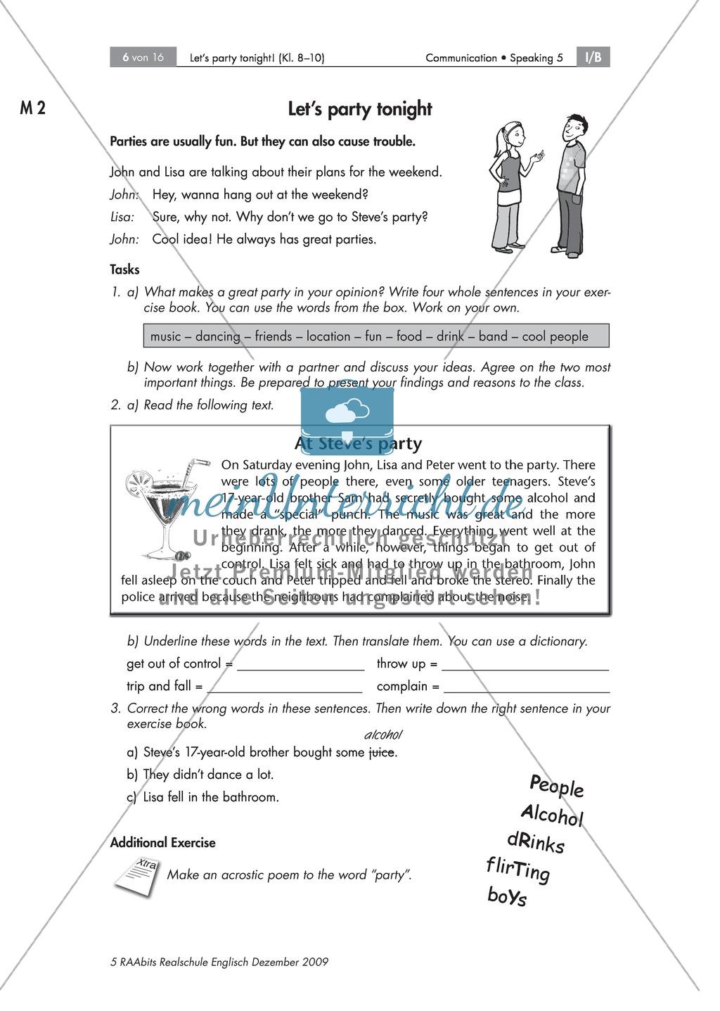 Talking about parties - Schüler schildern eigene Erfahrungen, überprüfen Aussagen zu einem Text und schreiben ein