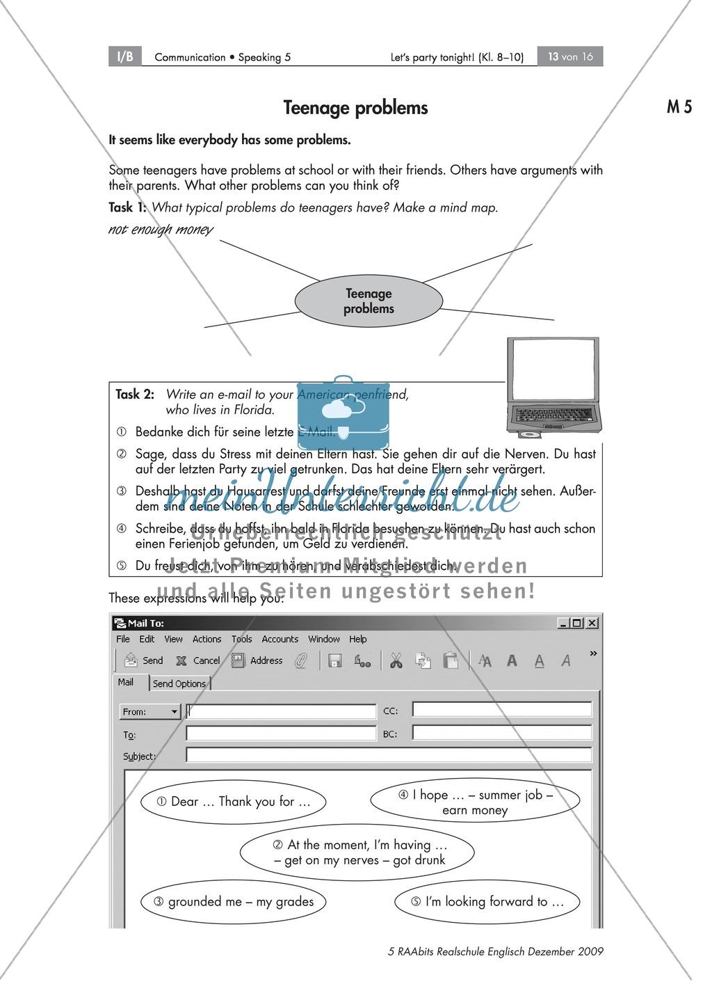 Typical teenage problems - mithilfe einer Mindmap verfassen die Schüler eine E-Mail zu Jugendproblemen Preview 0