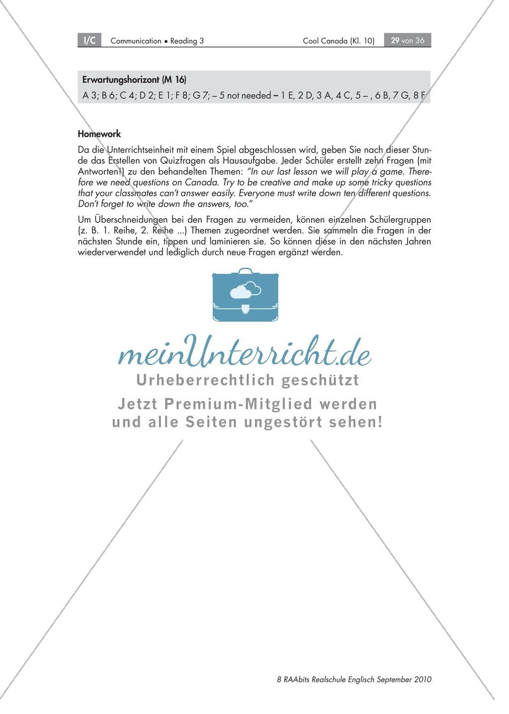 Textarbeit an Sachtexten über Kanada: Übungen zum Textverständnis + Lösungen Preview 22