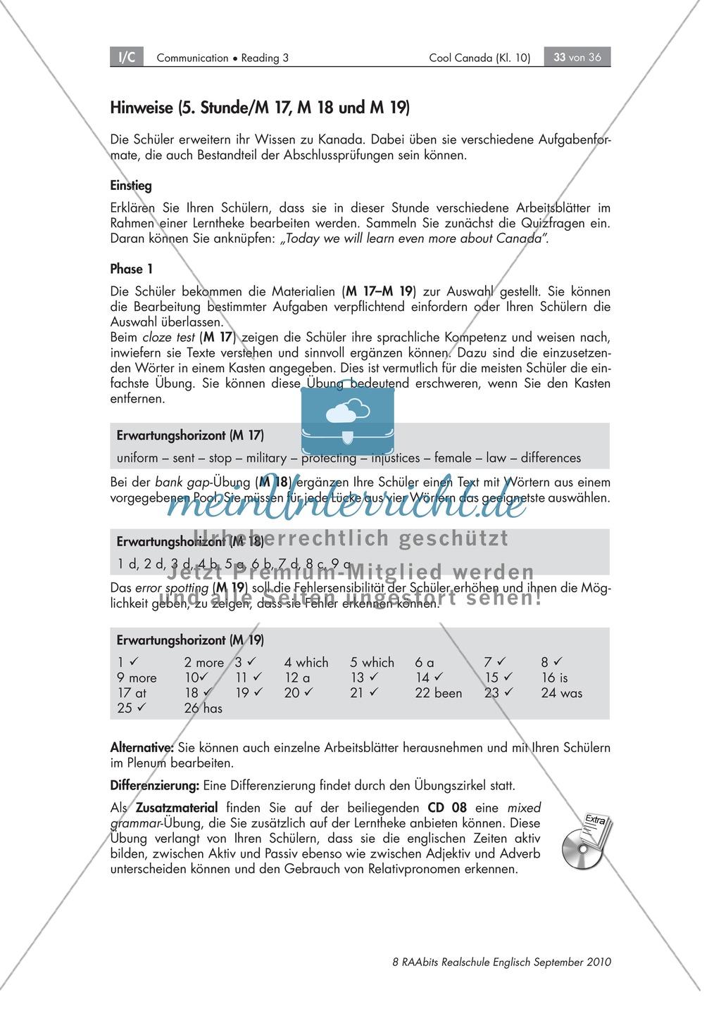 Textarbeit an Sachtexten über Kanada: Übungen zum Textverständnis + ...