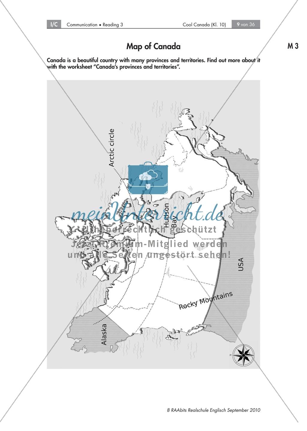 Textarbeit an Sachtexten über Kanada: Übungen zum Textverständnis + Lösungen Preview 2