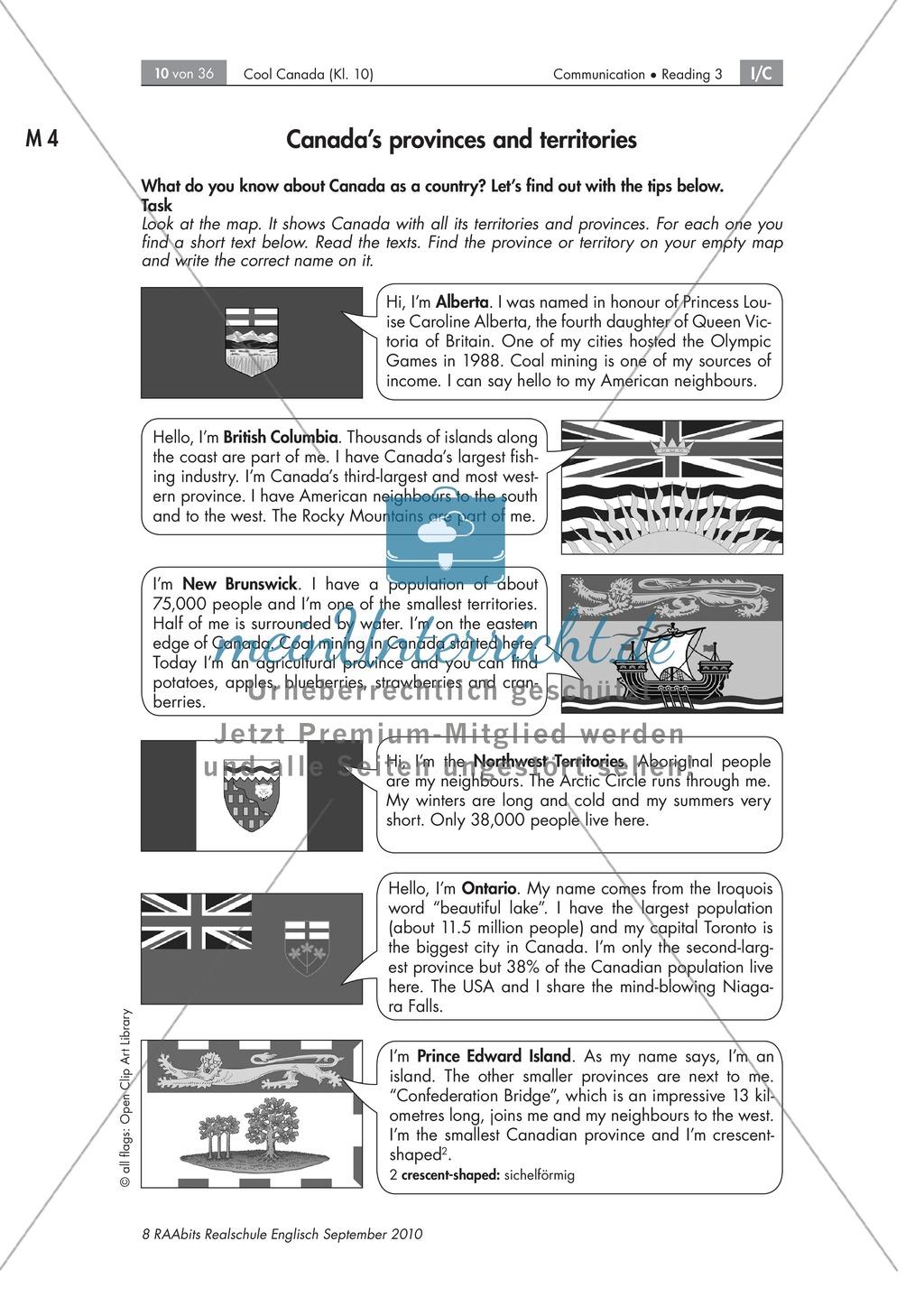 Textarbeit an Sachtexten über Kanada: Übungen zum Textverständnis + Lösungen Preview 3