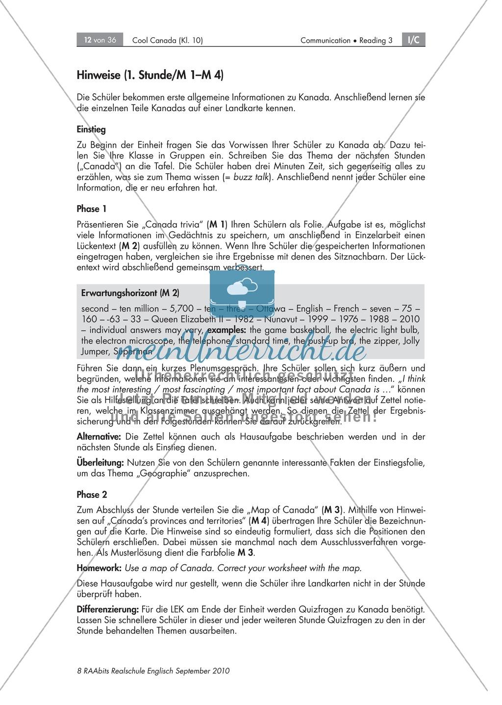 Textarbeit an Sachtexten über Kanada: Übungen zum Textverständnis + Lösungen Preview 5